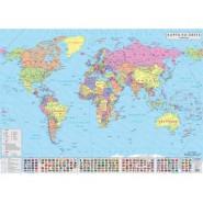СТЕННА ПОЛИТИЧЕСКА КАРТА НА СВЕТА 1:24 000 000, ЛАМИНИРАНА 140х100 см Kарти и атласи